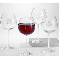 Monogrammed Red Wine Glass Set