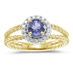 Diamonds and Tanzanite Ring in 14K Yellow Gold