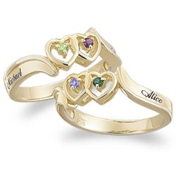 Couple's Twin Heart Genuine Birthstone and Name Ring