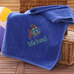 Personalized Blue Beach Fun Beach Towel