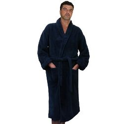 Men's Basic Solid Cotton Terry Velour Long Bathrobe