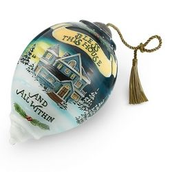 Hand Painted Bless This Home Christmas Ornament