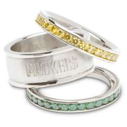 Stainless Steel and Crystal Stacked Green Bay Packers Rings