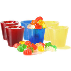 Cherry, Raspberry, and Pineapple Gummy Shot Glasses