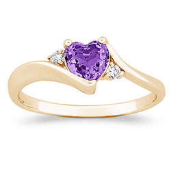 Birthstone Heart Ring with Cubic Zirconia Accent