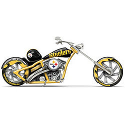 Pittsburgh Steelers Black and Gold Chopper Motorcycle Figurine
