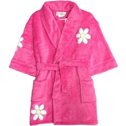 White Daisy Appliqued Pink Plush Girl's Bathrobe