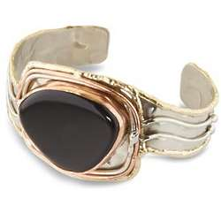 Onyx Mixed Metal Cuff Bracelet