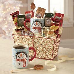 Coffee and Snowman Mug Gift Basket