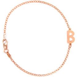 Sideways Initial Rose Gold Bracelet