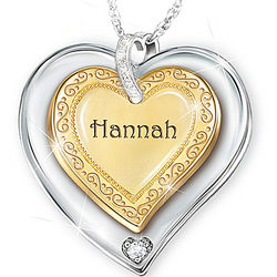 A Granddaughter Is Forever Personalized Heart Pendant Necklace