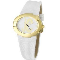 White Logo Dial Lizard Stamped Strap Watch