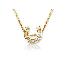 Mini 14K White Gold Diamond Lucky Horseshoe Pendant
