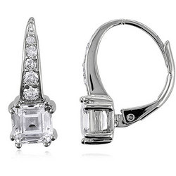 3.4 Carat Asscher CZ Sterling Silver Leverback Earrings