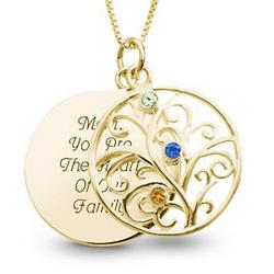 14K Gold and Sterling 3 Birthstone Necklace with Keepsake Box