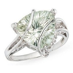 Trillion-cut Green Amethyst and Diamond 14K White Gold Ring