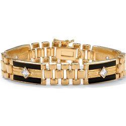 Men's Onyx and DiamonUltra Cubic Zirconia Bracelet