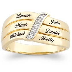 18K Gold Over Sterling Mother's Diamond Name Ring