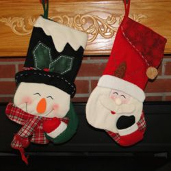 Personalized Giggling Santa or Snowman Christmas Stocking