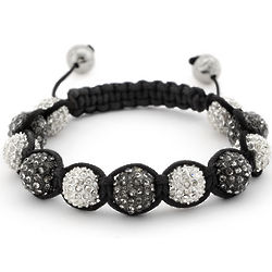 Shamballa Pave' Crystal Black and White Bracelet