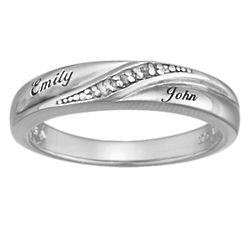 Sterling Silver Ladies Diamond Accent Names Wedding Band