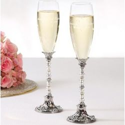 Beaded Champagne Toasting Flutes