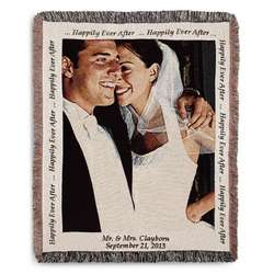 Portrait Wedding Photo Blanket with Natural Border