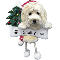 Goldendoodle Personalized Christmas Ornament with Dangling Legs