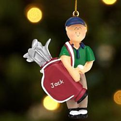 Personalized Male Golfer Ornament