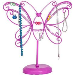 Pink Metal Butterfly Jewelry Stand