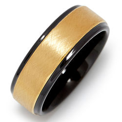 Men's Brushed Gold and Black Tungsten Ring