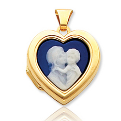 14k Yellow Gold Mother and Child Cameo Heart Locket