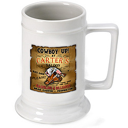 Personalized Cowgirl Saloon Beer Stein