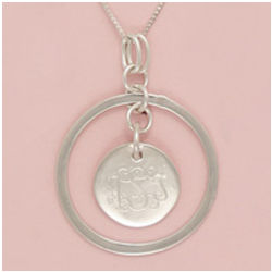 Monogrammed Sterling Silver Necklace Engravable Pendant