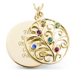 14K Gold and Sterling Silver Six Birthstone Necklace
