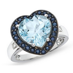 Blue Topaz, Sapphire and Diamond 10K White Gold Ring