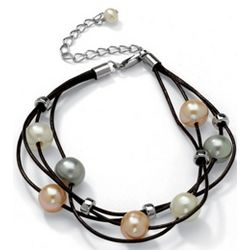 Sterling Silver Cultured Pearl Multi-Strand Leather Bracelet