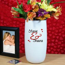 Personalized Couples Ceramic Vase