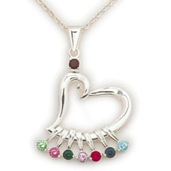 Sterling Silver Mother's Birthstone Heart Charm Pendant