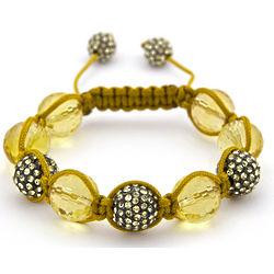 Lemon Quartz and Lemon Crystal Shamballa Bracelet