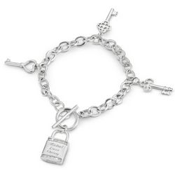 Engravable Multi-Key and Lock Silver Plated Bracelet