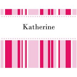 Red and Pink Stripes Personalized Note Cards