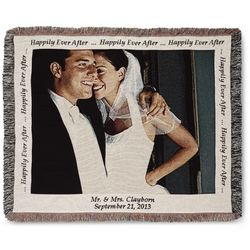 Landscape Wedding Photo Blanket with Natural Border