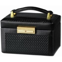 French Basket Weave Leather Travel Jewelry Box with Lock