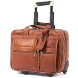 Executive Wheeled Leather Briefcase
