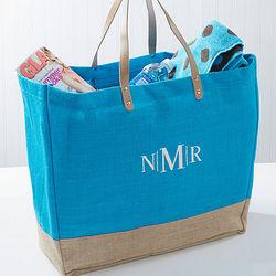 Turquoise Burlap Embroidered Monogram Tote Bag