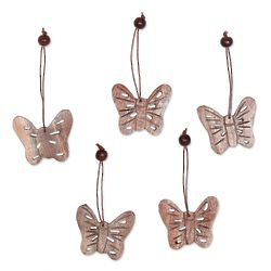 5 Wood Butterfly Holiday Ornaments
