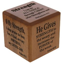 """Strength Themed Scripture 2.5"""" Wood Cube"""