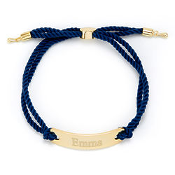 Personalized Bar Rope Bolo Bracelet in Blue and Gold