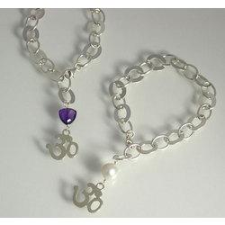Gemstone & OM Mixed Link Charm Bracelet